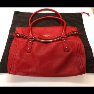 Kate Spade red pebbled leather satchel